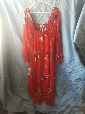 AU25 • Buy Asos Brand Long Sleeved Red And Black Floral Pattern Maxi Dress Size 16