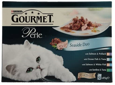Gourmet Perle Seaside Duo Adult Cat Food Pouches, 12 X 85g • 15.55£