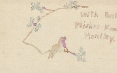 Postcard Genealogy Best Wishes From Honiley  Mrs Taylor  Kenilworth Home Made • 4.95£