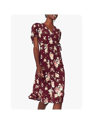 Oasis Deep Red Floral Midi Dress Size Large 14/16 • 3£