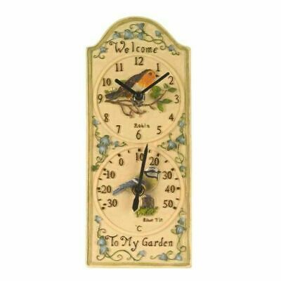 £22.99 • Buy Outside In Garden Indoor Outdoor Birdberry Wall Clock And Thermometer
