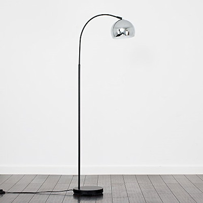 Modern Designer Style Black Curved Stem Floor Lamp With A Polished Chrome Arco • 53.27£