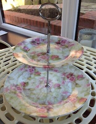 Leonardo 2-Tier Cake Stand - Rose Flower Design (Boxed & Unused) • 6£