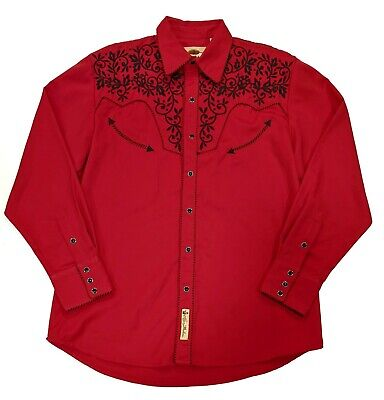 $45 • Buy Larry Mahan Mens M Red Snap Up Embroidered Front/Back Long Sleeve Western Shirt