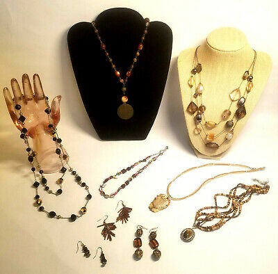 $ CDN31.32 • Buy Jewelry Lot Brown Tan Lia Sophia Avon NY Natural Necklaces Pierced Earrings