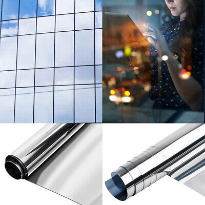 Mirror Window Film - One Way Reflective UV Vision Privacy Solar Glass Tint • 0.99£