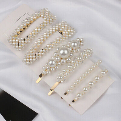 Pearl Word Bling Hair Clip Slide Barrette Bridal Hair Accessory Large Oversized • 4.05£