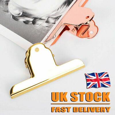 UK Stainless Steel Bulldog Clips Metal Office Paper Clip Binder Grip Clamp • 3.49£