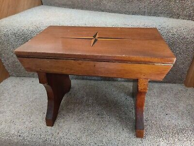 Small Vintage Mahogany Stool With Inlaid Design To Top • 30£