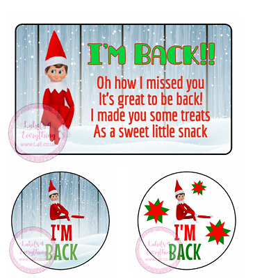 £1.99 • Buy Red Elf I'm Back Stickers Sweet Cones Party Christmas Gift Hamper Box