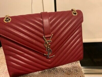 AU2300 • Buy YSL Yves Saint Laurent Bo Monogramme Bag Purse Burgundy(Fairly Used)
