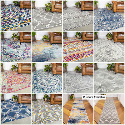 Transitional Living Room Rugs Small Large Geometric Moroccan Rugs Hall Runners • 29.95£