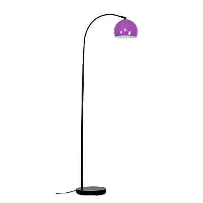 Modern Designer Style Black Curved Stem Floor Lamp With A Gloss Purple Arco Dome • 46.13£