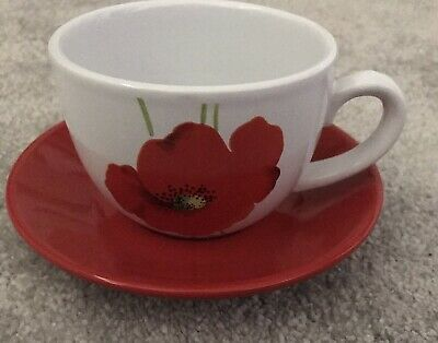 Vintage Rayware Alpine Poppy Cup And Saucer • 3.50£