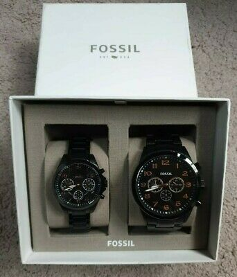 Fossil His And Her Chronograph Black Stainless Steel Watch Gift Set BQ2278 • 139.99£