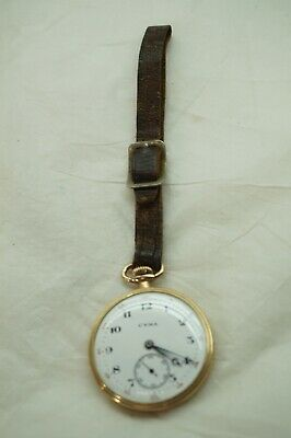 Cyma Pocket Watch Swiss 15 Jewels Second Hand Gold Plated Works Tavannes Vintage • 58.92£