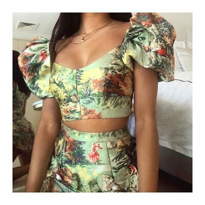 AU100 • Buy Bnwt Alice Mccall Green Voodoo Sky Crop Top - Size 4 Au/0 Us (rrp $295)