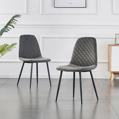 AU120 • Buy Set Of 2 Dining Chairs Velvet Seat Chairs Metal Legs Kitchen Cafe Furniture Grey