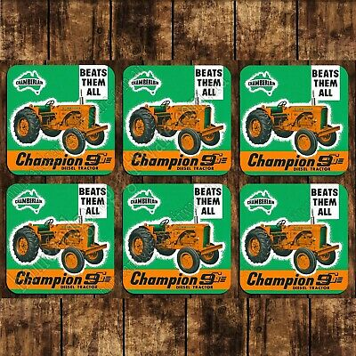 AU35.91 • Buy Set Of 6 Mdf/cork 95mm Coasters - Chamberlain Champion 9g Diesel Tractor
