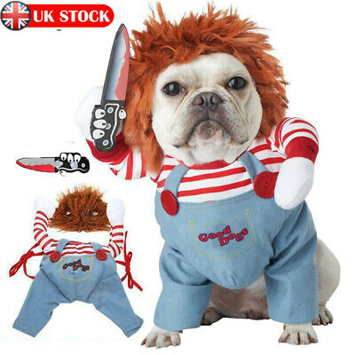 UK Pets Dogs Costume Party Chucky Halloween Cosplay Poppy Fancy Dress Jumpsuits  • 13.59£