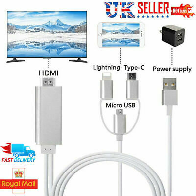 1080P Lightning To HDMI Cable TV Adapter Micro USB Type C For Samsung/iPhone UKv • 11.99£
