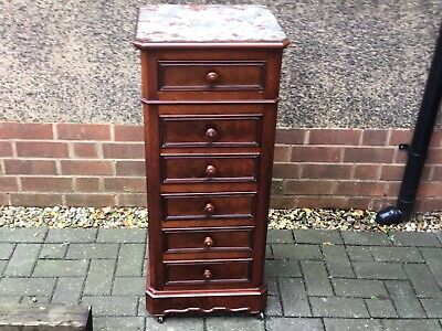 Handsome Antique Mahogany Marble Top Bedside Cabinet • 60£