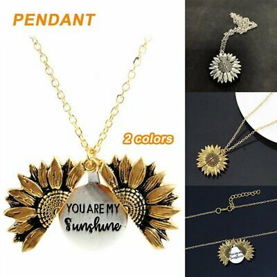 AU8.09 • Buy Sunflower You Are My Sunshine Open Locket Pendant Gold/Silver Necklace Chain LF