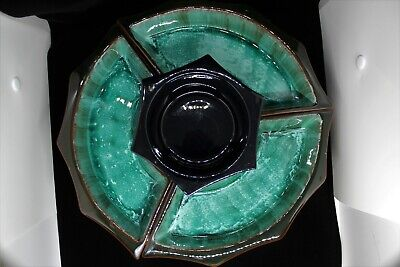 $ CDN55 • Buy Blue Mountain Pottery 4-Section Lazy Susan Serving Set W/ Working Rotating Tray