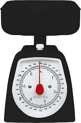 Hanson H005 Mechanical Kitchen Scale Black For Baking/Cooking Weigh Up To 3kgs • 9.99£