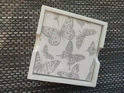 Set Of 4 Coasters White Grey Butterfly Pattern • 3.99£