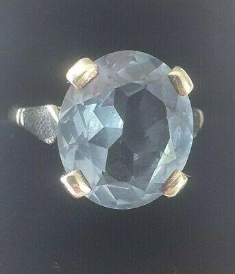 DJ 925 Sterling Silver And Blue Topaz Solitaire Ring Size R • 25£