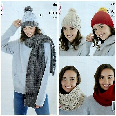 KNITTING PATTERN Ladies Scarf 2 Styles Cowl And 2 Hats Chunky King Cole 5693 • 3.95£