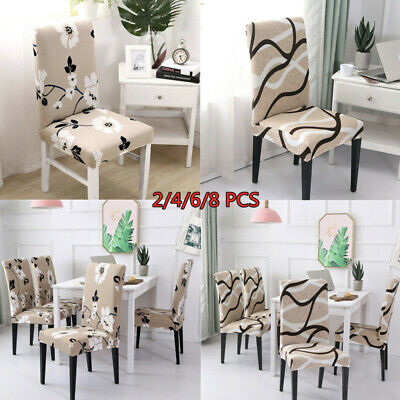 AU35.99 • Buy 2/4/6/8Pcs Stretch Dining Chair Covers Slipcover Spandex Wedding Cover Removable