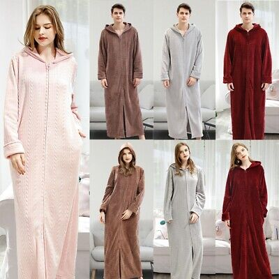 Women Men Homewear Front Zipper Bathrobe Hooded Robe Dressing Gown Long Fleece • 28.99£