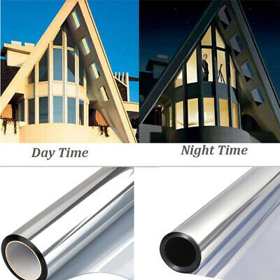 MIRROR SILVER - PRIVACY ONE WAY WINDOW TINTING PRO TINT FILM 50, 76, 100cm • 0.99£