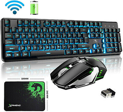 AU69.99 • Buy 2.4G Rechargeable Wireless Gaming Keyboard And Mouse Combo 4800MAH LED Backlit