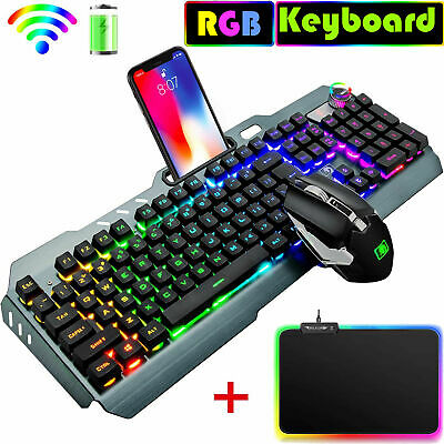 AU75.19 • Buy 3in1 Wireless USB Gaming Keyboard Mouse And RGB LED Backlit Mouse Pad For PC PS4