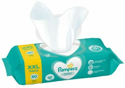 Pampers XXL Sensitive Baby Wipes 80`s (Buy 480, 640 Or 960 Wipes) • 21.22£