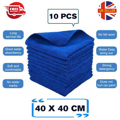 £5.95 • Buy 10X Large Microfibre Absorbent Dry Towel Car Kitchen Washing Clean Cloth 40x40cm