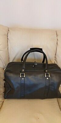 Marks And Spencer Black  100%leather Travel Cabin  Holdall Duffle  Large Bag Vgc • 35£
