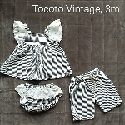 Tocoto Vintage Girl Boy Twins Matching Summer Clothes 3 Months • 30£