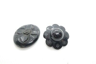 2 X Antique Victorian Whitby Jet Brooch Pendant - For Repair Parts • 9.99£