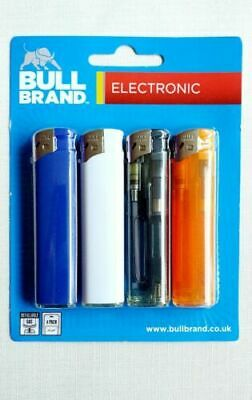 £2.80 • Buy 4 Pack Of Electronic Refillable Bull Brand  Lighters - Mixed Colours