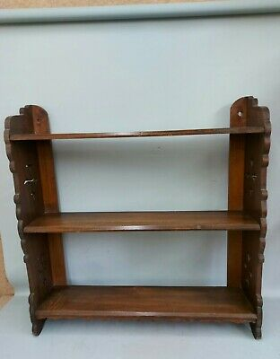 Antique Edwardian Mahogany Wall Shelf  For Books Or Display • 20£
