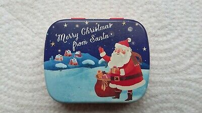 Lovely Empty Merry Christmas From Santa Hinged Sweets Tin Stocking Filler • 2.99£