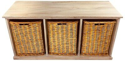 Rustic Design Wooden Storage Bench Seat With 3 Large Wicker Baskets Solid Wood  • 97£