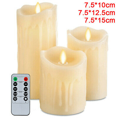 UK 3PCS Flameless LED Tear Wax Pillar W/ Timer Remote Flickering Dancing Candles • 18.75£