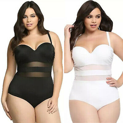 Plus Size Women Crochet Monokini Swimsuit Padded Bikini Swimwear Bathing Suit • 13.29£