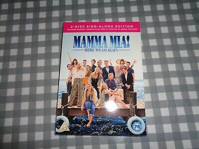 Mamma Mia! Here We Go Again [DVD] 2 Disc Sing Along + Slipcover * New & Sealed * • 2.99£