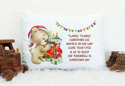Christmas Personalised Pillow Case*girl*boy*gift* Teddy Hanging Stocking • 7.99£